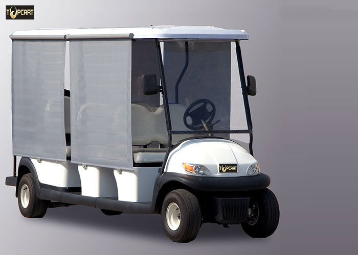Sunshade White 8 Seater Golf Cart , Trojan Battery Electric Sightseeing Car