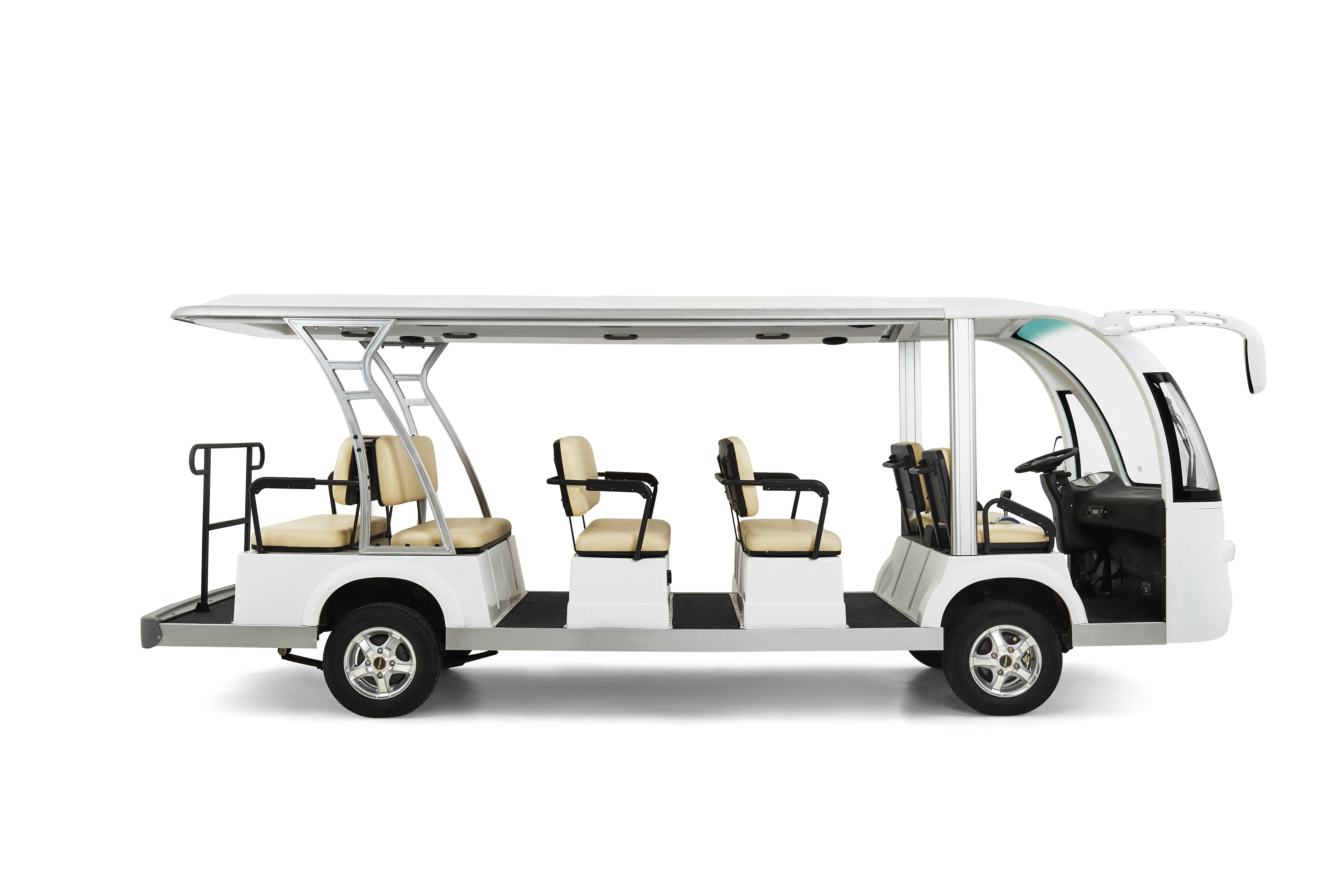 Electrical Street Legal Golf Carts 14 Seater With Radio / Matte White Loaded