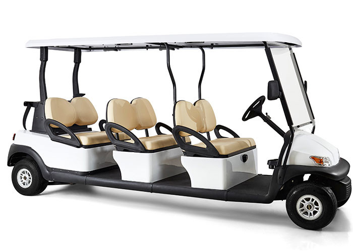 White Four Wheels 6 Person Golf Cart , Road Legal Golf Buggy With Long Roof