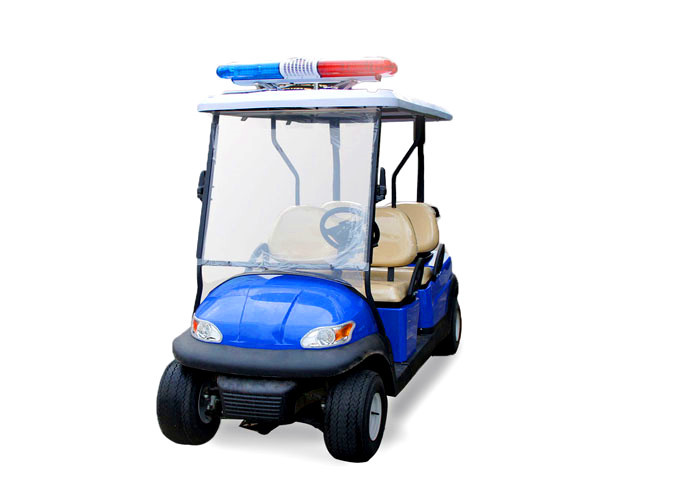 Blue Electrical Golf Cart Patrol Vehicle Battery Powered With Alarm Light